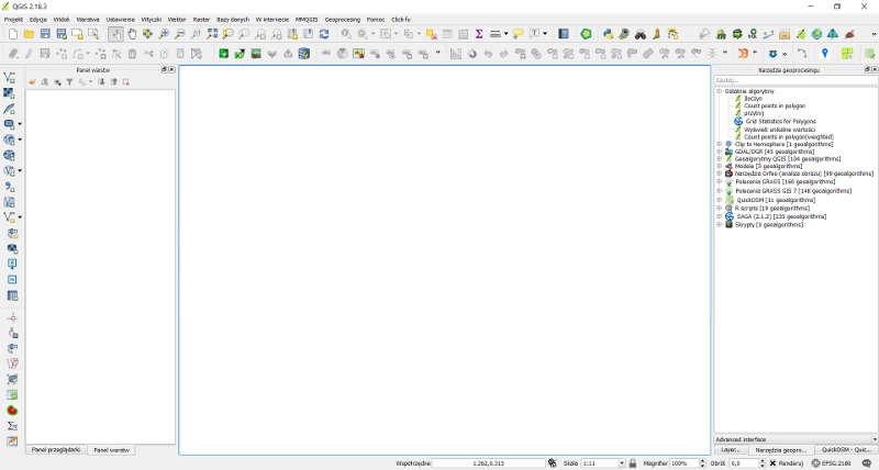 Zrzut programu QGIS